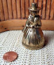 "Vintage Pilgrim Woman Brass Bell / 2 3/4"" Tall"