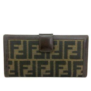 FENDI Zucca Canvas Leather Bifold Long Wallet/C0374