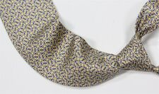 Hermes Paris 5050 PA Yellow/Blue Geometric Chain Link Silk Handmade Necktie