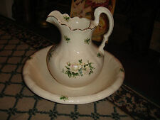 Superb CPF Pottery Water Pitcher & Basin Bowl-Large-White W/Flower Patterns