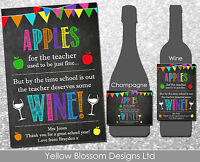 Personalised Wine Champagne Label Teacher Thank You Gift Bunting Apples Rainbow
