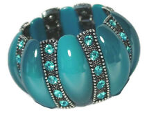 Blue Extra Wide Lucite Stretch Bracelet Crystal