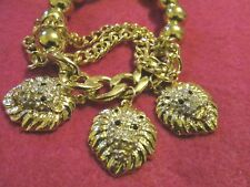 Pretty Expandable GOLD clear stones lion charm  BRACELET