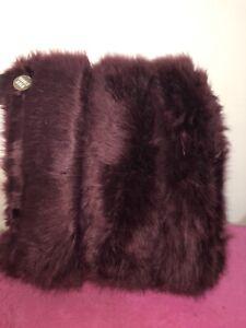 NEW Midnight Garden Luxury Faux Fur  Dakota Cushion Double Sided 48 x48 plum