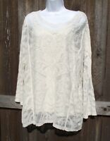 ADIVA 2pc COTTON RAYON EMBROIDERED LACE LONG SLEEVE IVORY BLOUSE TOP CAMI 1X NEW