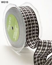 MAY ARTS RIBBONS~WOVEN CHECK~BLACK, WHITE & GREY~WIRE EDGES~1.5 INCH X 1 YARD!
