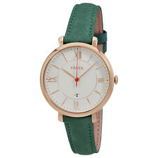 Fossil Jacqueline Silver Dial Ladies Teal Leather Watch ES4149