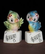 VTG- Japan *GREEN & BLUE BIRD SALT & PEPPER SHAKERS* Ceramic Figurine- LEFTON?