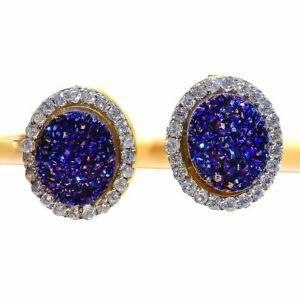 Titanium Druzy, White Topaz Golden Silver Fashion Jewelry Earring Stnd. SE8647