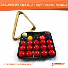 2-1/16 Inch Snooker Ball Set + Wooden Triangle Rack + Ball Tray UK
