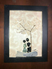 LOVE BIRDS2 sea glass rock art 6 x 8 framed couple under tree ORIGINAL BY SELLER