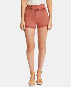 Free People Womens Sammi Retro OB889951 Shorts Slim Noble Adobe Red Size 26W