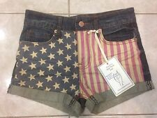 American Flag Jeans Shorts The Sexy High Waist Jeans Shorts Size 0 **NWT**