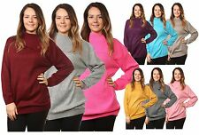 Ladies Women's Knitted 3 Buttons Polo Neck Pullover Jumpers Top UK Plus Sizes