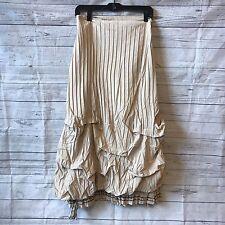 Mode De Paris By Saga Womens Long Crinkle Pleated Skirt Ruched Ruffle Medium