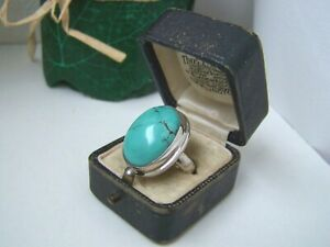 GORGEOUS 925 SOLID STERLING SILVER TURQUOISE STATEMENT RING SIZE O 7 UNUSUAL