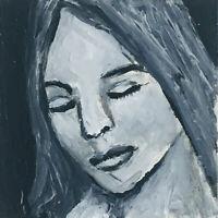 Original OOAK B&W Minature Art Painting Calm Peaceful Woman Katie Jeanne Wood