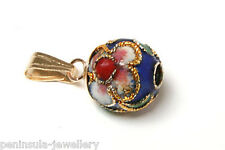 9ct Gold Blue Pendant Chinese enamel ball no chain Gift Boxed Made in UK