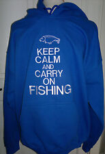 Keep Calm and Carry On Fishing Hoodie Embroidered - 29  colours - Small  to XXL