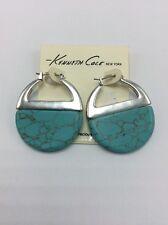 $38 Kenneth Cole Silver Tone Stone Hoop Earrings #66F
