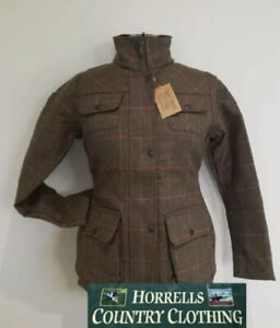Ladies Shire Classic Tweed Shooting Hunting Walking Jacket With Pink Check