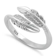 Sterling Silver 925 Double Feather knuckle Ring Above Band Leaf Midi Ring T153
