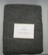 "Pottery Barn Belgian Flax Linen Drape Panel Blackout Charcoal Gray 96"" #4710"