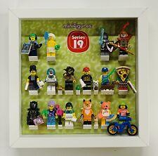 LEGO MINI FIGURES Nero Vetrina telaio bianco Rosso Mattone SERIE 17 16 15 14 13