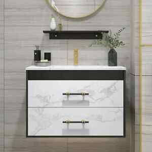 600mm Bathroom Vanity Wall Hung Basin Sink Unit Cabinet Faux Marble Top White