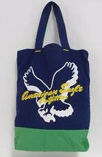 American Eagle Outfitters In Flight Blue Green Cotton Canvas Tote Bag New NWT