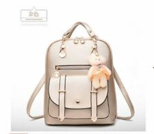 Korean Simple Basic Casual Leather Backpack with Bear (White)