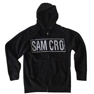 Men's SONS OF ANARCHY Full-Zip Hoodie Sweatshirt Scull MED Motorcycle SAMCRO
