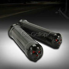 """1"""" Skull Black Hand Grips Fit Harley Dyna Sportster Softail Touring XL 1200 883"""