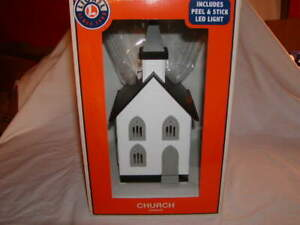 Lionel 1930440 Church Fully Assembled O 027 MIB w LED Peel Stick Light New 2019