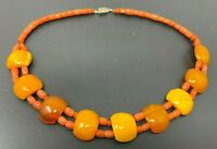 Vintage Natural Red Coral Butterscotch Amber Beaded Necklace 18""