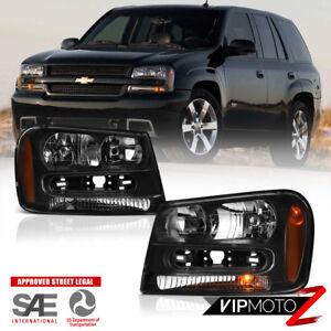 For 02-09 Chevy Trailblazer EXT Black LEFT+RIGHT Side Headlight Assembly Lamp