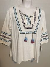 (NWT) Style&Co Women's Oatmeal 3/4 Bubble Sleeve Peasant Top Plus Size 2X