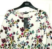 M&S Ladies Sweatshirt Top Ivory Floral Textured Stretch BNWT Marks