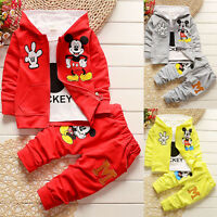 3PCS Boys Girls Mickey Mouse Hooded Coat T-shirt Pant Trouser Outfit Set Clothes