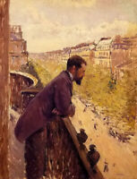 Oil painting gustave caillebotte - the man French on the balcony in landscape