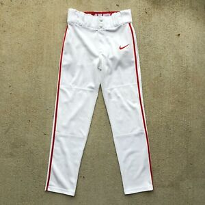 New Size S Nike Boy's Swoosh Pipes Dri-Fit Baseball Pants AH6943 White Red 🚚🚚