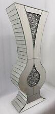 Diamond Crush Sparkly Curvy Silver Mirrored Decorative Floor Vase Tall 80cm