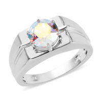 Platinum Over 925 Sterling Silver Made with Swarovski Crystal Ring Gift Size 13
