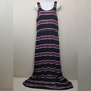 White House Black Market Robe Moyen Violet Noir Rayure Maxi Extensible Poches