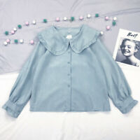 Korean Style Cute Doll Collar Blouse Sweet Lolita Retro Long Sleeve Tops 4Colors