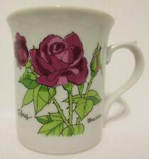Vintage Ghc Purple Roses Coffee Mug Cup Bruce E Hart Art Ceramic Japan Country