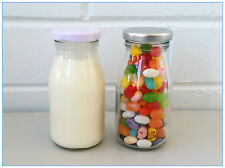 12 x Mini Glass Soda, Milk Candy Bottle With Screw Top Silver&White Lid 200 ML A
