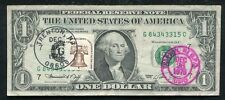 """1974 $1 ONE DOLLAR FRN FEDERAL RESERVE NOTE """"FIRST DAY ISSUE STAMPED"""""""