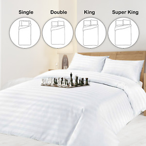 Satin Strip Duvet Cover Pillowcase Fitted Sheet Quilt Single Double Super King