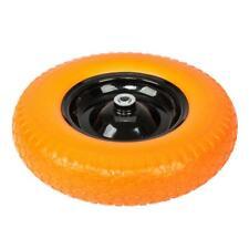 "16"" Flat Free Wheel Barrow Tire Solid Foam 5/8 Axle Cart Wagon Portable Yellow"